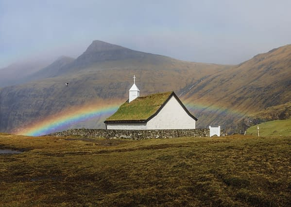 Rainbow above the church in Saksun - Poster 5D4A1435