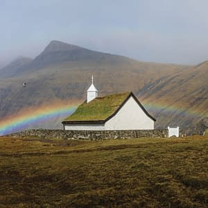 Rainbow above the church in Saksun - Poster 5D4A1435